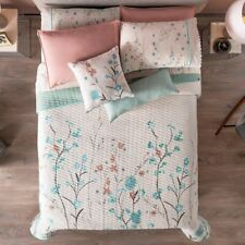 IRIS FLOWERS REVERSIBLE COMFORTER SET 5PCS FULL NATURAL  FABRIC 100% COTTON