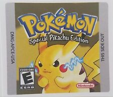 REPLACEMENT GAMEBOY COLOR CARTRIDGE STICKER LABEL POKEMON YELLOW PIKACHU EDITION