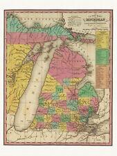 Old Antique Decorative Map of Michigan Tanner ca. 1836