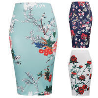 Fashion Women's Ladies Bodycon Elastic High Waist Floral Midi Pencil Skirt S~XL