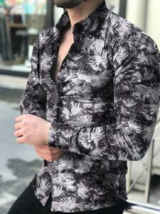 Moda Camisa Para Hombre De Vestir Mangas Largas Hojas De Lujo De Cardigan Blusas