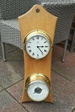 SCHATZ Schiffsuhr & Barometer Thermometer / Quartzwerk Messing Glasenuhr