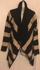White House Black Market Cardigan Size M Black/Tan Stripe Rayon Blend Soft