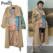 Collar Patchwork Suit Stitching Fake 2Pcs Split Sleeves Trench Coat with Belt