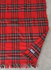 Vintage Amana Woolen Mills Wool Fringed Red Plaid 52 X 47 Throw Stadium Blanket
