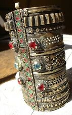 Indian Kuchi large tarnished jewel light gold colour cuff bracelet