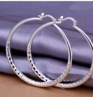 """Ladies Fashion Jewelry 925 Sterling Silver Etched Design 3"""" Large Hoop Earrings"""