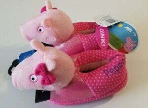 Peppa Pig Girls Slippers, Peppa Pig Girls Pink Slippers Size M 7/8 - New w/ Tags