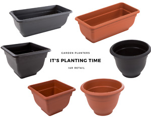 Garden Plant Flower Planter Pot Indoor & Outdoor Use Square Round Rectangle Pots