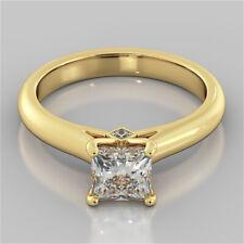 1.56 Ct Princess Cut Bridal Diamond Wedding Ring 14K Solid Yellow Gold Size 7 8