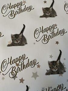 CAT KITTEN FELINE HAPPY BIRTHDAY GIFT PRESENT WRAPPING PAPER MUM CHILD DAUGHTER