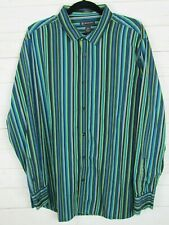 INC Mens Long Sleeve Green Striped Slim Fit Button Up Shirt Size XXL W926