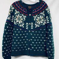 Eddie Bauer Womens Sweater Cardigan - Medium Vintage Nordic Fair Isle 100% Wool