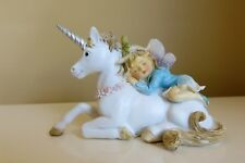 Woodland Fairy Sleeping on Unicorn Village Resin New 4. x 2.5 in. Fantasy