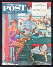 MOTHER & BABY BEACH HOT DOG STAND GLAMOUR AMERICAN COVER ART GEORGE HUGHES 1954