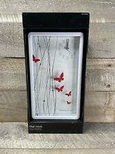 """Sterling and Noble Butterfly Designer Wall Clock 12"""" x 7"""" - Glass Face - NIB"""