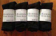 6 PAIRS MEN BLACK BAMBOO THICK WORK SOCKS / SOCK 6-11 95% BAMBOO FIBRE