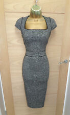 STUNNING HOBBS GREY MIDI WORK PENCIL DRESS UK 10 EU 38 BUSINESS OFFICE