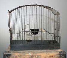Bird cage steel wire frame hand access water & feed attachments perch wood base