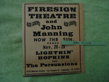 Firesign Theatre / Lightnin' Hopkins 1970 concert ad Ash Grove LA