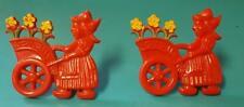 2 VINTAGE RED PLASTIC KITCHEN CURTAIN TIEBACK PINS DUTCH GIRLS TULIP CARTS