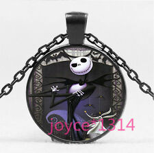 Nightmare Before Christmas Cabochon black Glass Chain Pendant Necklace HS-5799