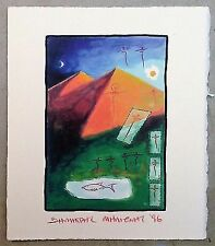 """Milionis """"Θ"""" Signed Small Unique Single Giclee Print 1996 Greek Artist Painter"""