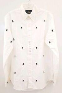Ralph Lauren Polo Skull Crossbones Button Oxford Shirt White LS Embroidered XL