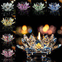 Crystal Glass Lotus Flower Candle Light Holder Buddhist Candlestick Holiday