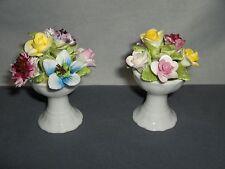 2 Vintage Coalport Bone China Porcelain Mini Flower Figurines Pedestal  Bowls