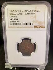 1847 ELBERFELD Germany Bronze Token for Bread - 20mm - NGC VF 20 BN