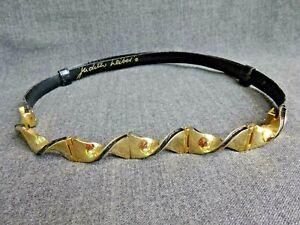 Judith Leiber Skinny Black Snakeskin Belt Gold Enamel Buckle Adjustable S M L