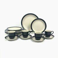 16 PIECE SET STUDIO NOVA EBONY DINNERWARE DINNER SALAD PLATE CUP SAUCER