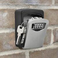 Home Key Hider Storage Box 4 Digit Security Code Lock Keys Safe Wall Mounted
