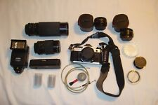 CANON AE-1 PROGRAM 35MM SLR CAMERA WITH 3 LENSES, WINDER, FLASH, & ACCESSORIES +
