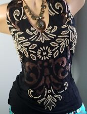 NEW BOSTON PROPER TOP Beads Sequins Embellished Tank Top BLACK M Knit