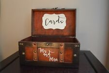 Brown Wedding Card Box, Wedding Card Holder Trunk, Medium Wedding Money Card Box