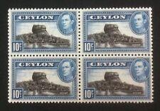 Ceylon 1938 George VI. SG389 10 cents Block of 4. Superb Mint Never Hinged/MNH.
