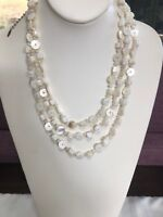 Esmor 3 Strand Mother Of Pearl Natural Necklace. Bohemian Style Shell