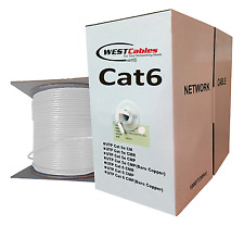 Cat6 1000ft Plenum Bulk Pure Copper Solid Cable CMP Ethernet Network Wire White