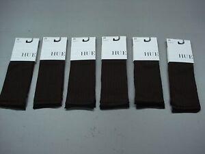 NWT Women's Hue Triple Rib Knee Hi One Size Espresso 6 Pair #230D