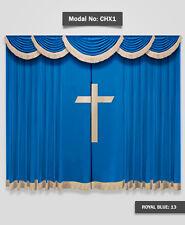 Saaria Church/School Stage Drapes 22'W x 10'H Velvet Traditional Curtains Drape