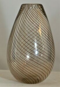 Vintage Clear Glass with Spiral Pattern Vase