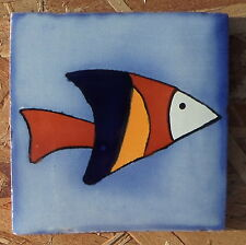 """10~Talavera Mexican 4"""" tile kiln fired hand painted STRIPED FISH SWIMMING OCEAN"""