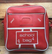 Red Retro School Bag/Satchel/Genuine Vintage/Vinyl/1970's/80's/Kitsch