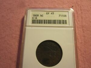 1809 Classic Head Half Cent ANACS graded EF45 (1/2C XF45 C-6) Roated Reverse