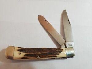 VINTAGE BROWNING GERMANY  2 BLADE FOLDING KNIFE  W/ BONE HANDLE NEW NO BOX