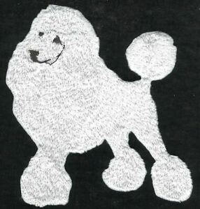"""3"""" x 3 1/4"""" White Poodle Full Body Dog Breed Embroidery Patch"""