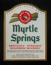 1950s? Bottle Label Myrtle Springs Kentucky Straight Bourbon Whiskey Shively KY