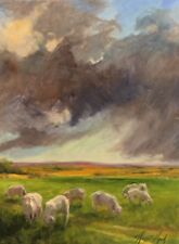 Sheep Pasture Oklahoma Prairie Farm Big Clouds oil painting Margaret Aycock Sale
